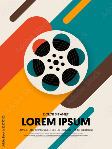 Movie and film poster template design modern retro vintage style