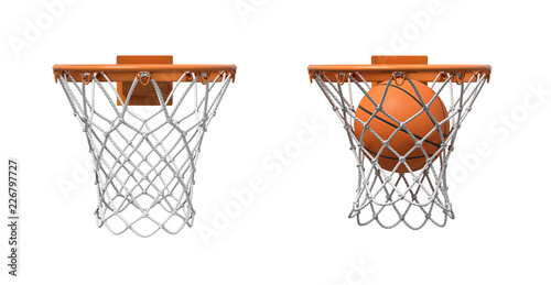 Fotografie, Obraz 3d rendering of two basketball nets with orange hoops, one empty and one with a ball falling inside
