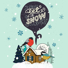 Let It Snow Hand Lettering Greeting Card
