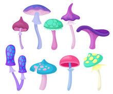 Flat Vector Set Of Different Magic Mushrooms. Forest Plant. Elements For Children Fairy Tale Book Or Fantasy Mobile Game