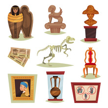 Flat Vector Set Of 9 Different Museum Objects. Ancient Exhibits, Tickets, Prohibition Signs