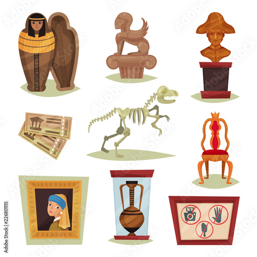Fotografie, Obraz Flat vector set of 9 different museum objects