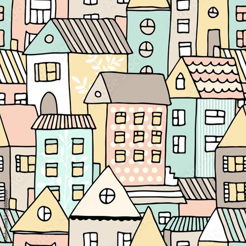 reka-rysujacy-bezszwowy-wzor-z-doodle-domami-wektorowy-tlo-z-kreskowki-miasteczkiem