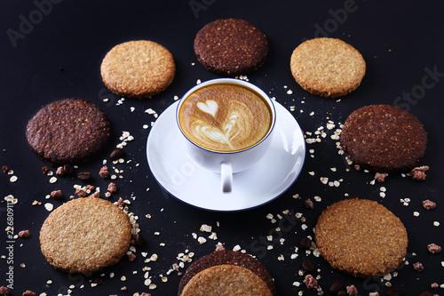 Fotografie, Obraz  Biscotti ipocalorici e tazza di caffè