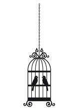Bird In The Cage Silhouette Isolated On White Background