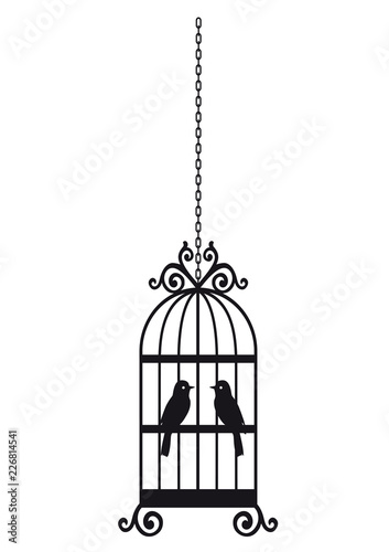 Poster de jardin Oiseaux en cage Bird in the cage silhouette isolated on white background