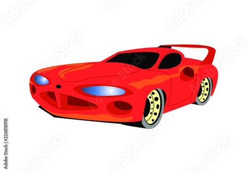 Staande foto Cartoon cars Red muscle car. Vector image
