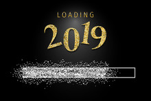 Loading 2019 With Silver Glitter
