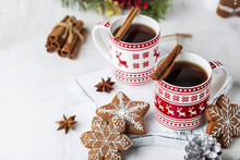 Hot Tea With Cinnamon, Star Anise And Ginger Cookies
