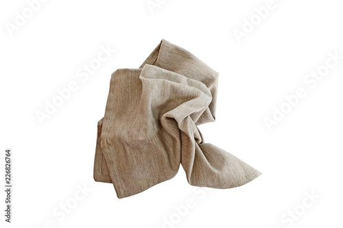 Obraz na plátně Messy crumpled linen napkin isolated over a white background with clipping path included