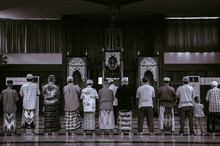 Muslim Praying In Old Historic Mosque Of Ban Nam Chiao In Trat Province, Thailand