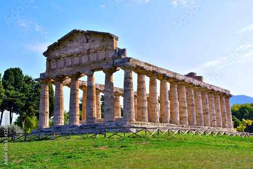 Fotobehang Bedehuis The Temple of Athena or Temple of Ceres (about 500 BC) is a Greek temple located in Capaccio Paestum Italy