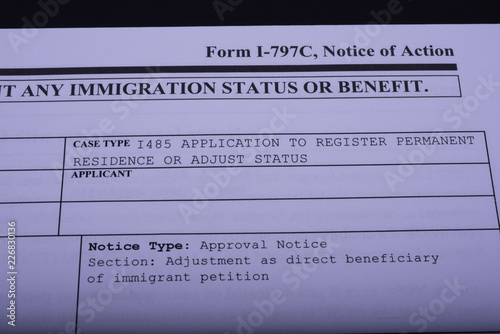 Fragment of Immigrant petition Form I-797C, Notice of Action, Case