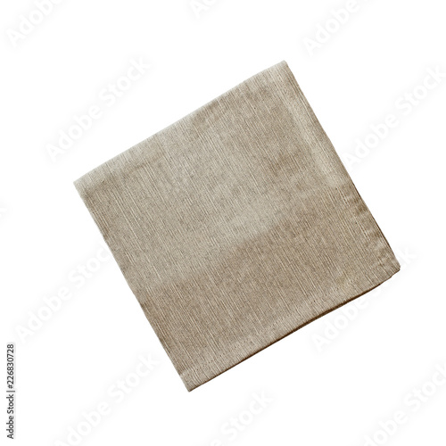 Fotografie, Obraz  Square linen napkin isolated over a white background with clipping path included