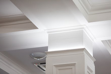 Interior Details Ceiling Stucco Plaster. Decorating Wall Joint Using Lighting