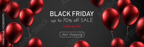 Papel de parede  Black friday sale promotion banner with red shiny balloons.