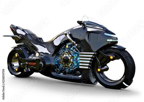 Fotografia, Obraz  Futuristic angled light cycle