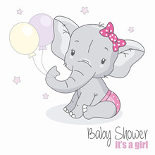 Baby Shower Girl. Cute Elephan...