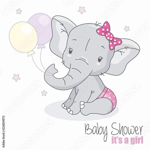 Fototapeta premium baby shower dziewczyna. Śliczny słoń z balonami.