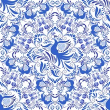 Seamless Blue And White Patter...