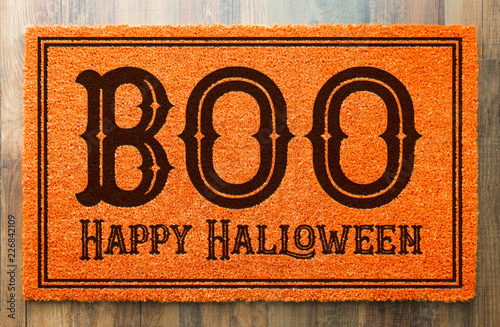 Fotografia, Obraz Boo, Happy Halloween Orange Welcome Mat On Wood Floor Background