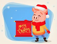 Merry Christmas. Cute Pig Wearing Santa Claus Hat