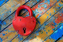 Red Padlock In The Form Of Hea...