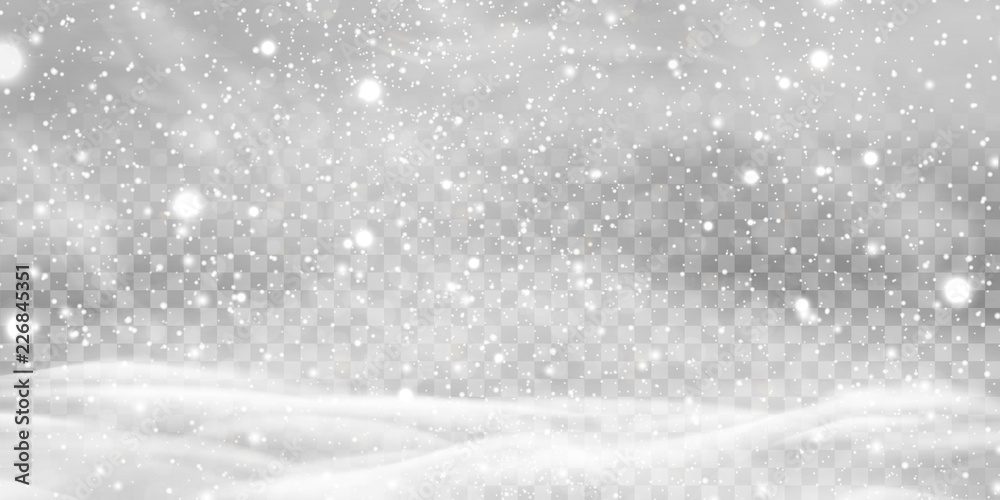 Fototapety, obrazy: Falling Christmas Shining transparent beautiful, little snow with snowdrifts isolated on transparent background. Snowflakes, snow background. Heavy snowfall, snowflakes in different shapes and forms.