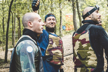Army Soldiers Standing In Forest During Training
