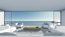 3d Render Modern Pool Sea View...