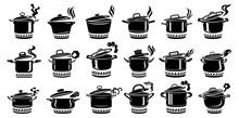 Cooking Saucepan Steam Icon Se...