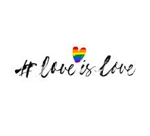 Love Is Love - LGBT Pride Slogan Against Homosexual Discrimination. Hand Drawn Vector Modern Calligraphy.