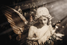 God's Angel Of Peace In The Sunlight. Antique Statue.