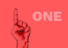 Male Hand Hand Shows Number One. Modern Design. Vector Illustration