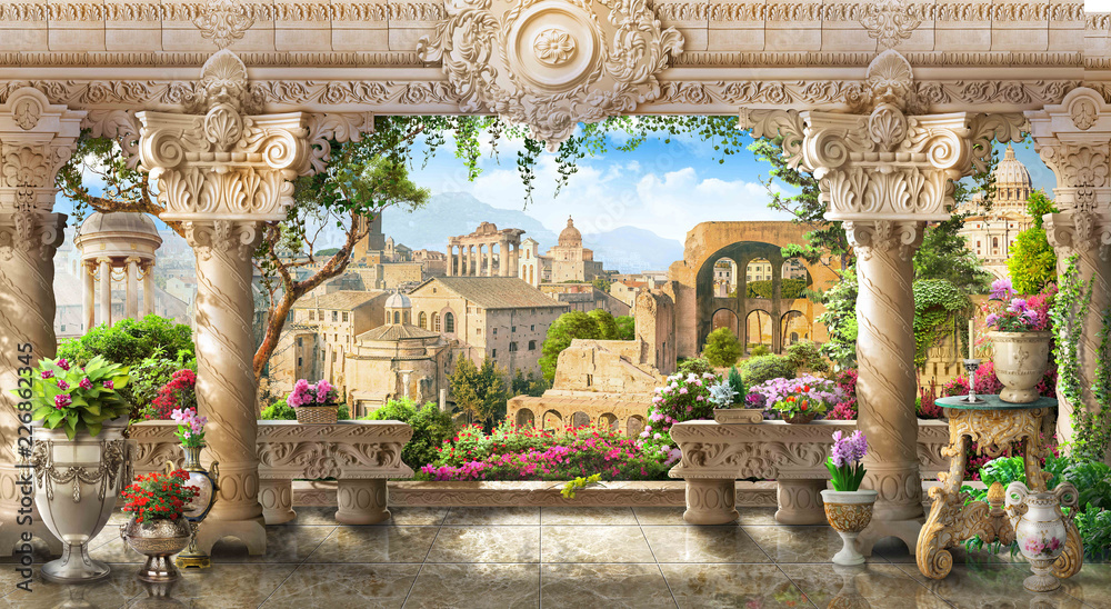 Fototapety, obrazy: fresco terrace with columns overlooking the old town