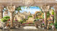 Fresco Terrace With Columns Ov...