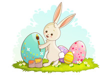 Cute White Rabbit Decorating Easter Eggs Laid On The Grass With Paint. Vector Illustration Isolated On White Background.