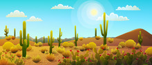 Desert Landscape With Cactus And Bushes, Sunny Blue Sky With Clouds.Vector Illustration.