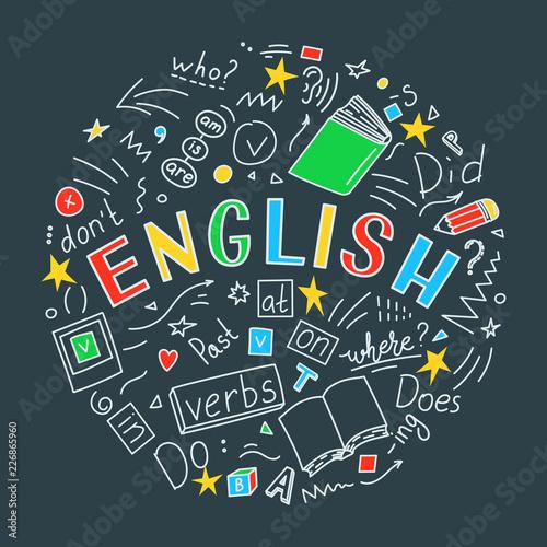 English. Language hand draw...
