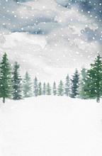 Watercolor Winter Snow Pine Tr...