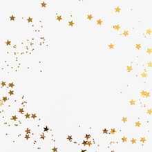 Festive Background. Shining Stars On White Background. Christmas. Wedding. Birthday. Happy Woman's Day. Mothers Day. Valentine's Day. Flat Lay, Top View, Copy Space.