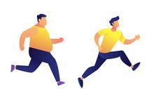 Fat And Slim Men Running Vector Illustration.