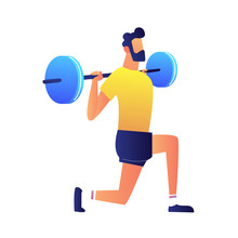 Weightlifter With Barbell Vector Illustration.