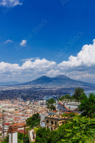 Aerial view of the city of Naples, Italy and Mount Vesuvius