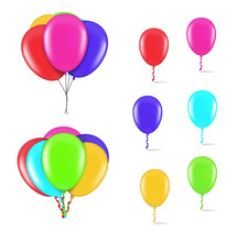 Set Of Colorful Balloons On Wh...