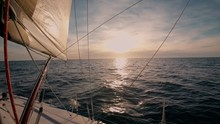 View On Sunset From Deck Of Sailboat Or Yacht, Epic Beautiful Dusk, Sun Goes Behind Horizon, Romantic, Inspiring And Dreamy Lifestyle, Wind Of Change And Forever Young Wanderlust Adventure Vibes