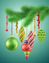 3d Render, Green Christmas Fir Branch, Hanging Vintage Ornaments, Festive Decoration, Illustration, Isolated Clip Art, Holiday Background