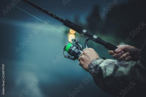 Fotografie, Obraz  Late Fly Fishing Angler