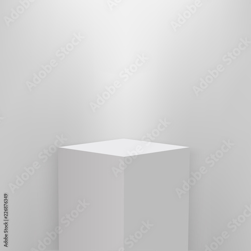 Photo Product presentation podium, white stage, Empty white pedestal, blank template mockup