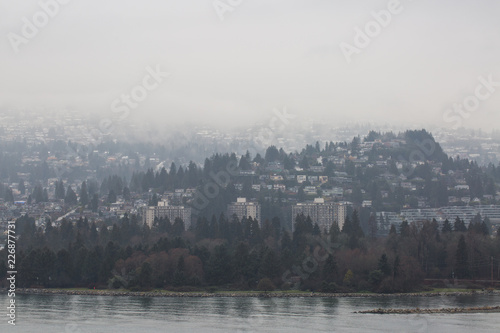 Poster Morning with fog Foggy winter city scape of vancouver canada suburbs